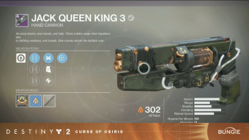 Jack Queen King - Hand Cannon (D2-Curse of Osiris)
