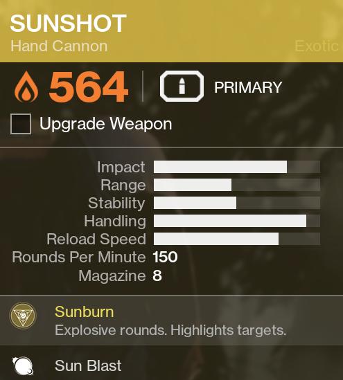 Destiny 2 – Sunshot Exotic Hand Cannon – Kyber's Corner