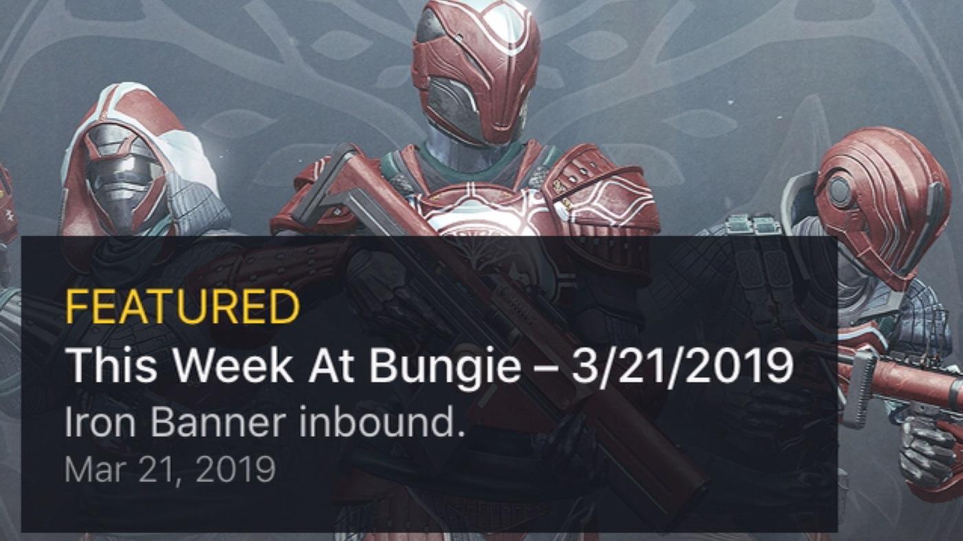Destiny 2: This Week at Bungie – Iron Banner Inbound