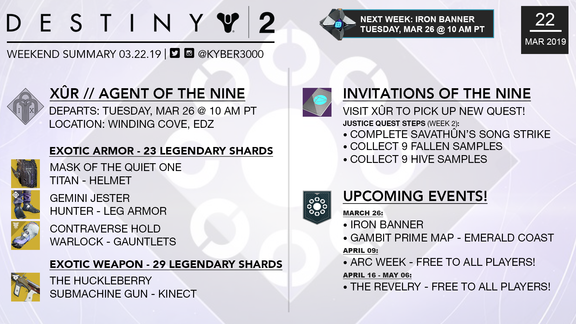 Destiny 2 Weekend Summary – Xûr, News, and More! (03/22 – 03