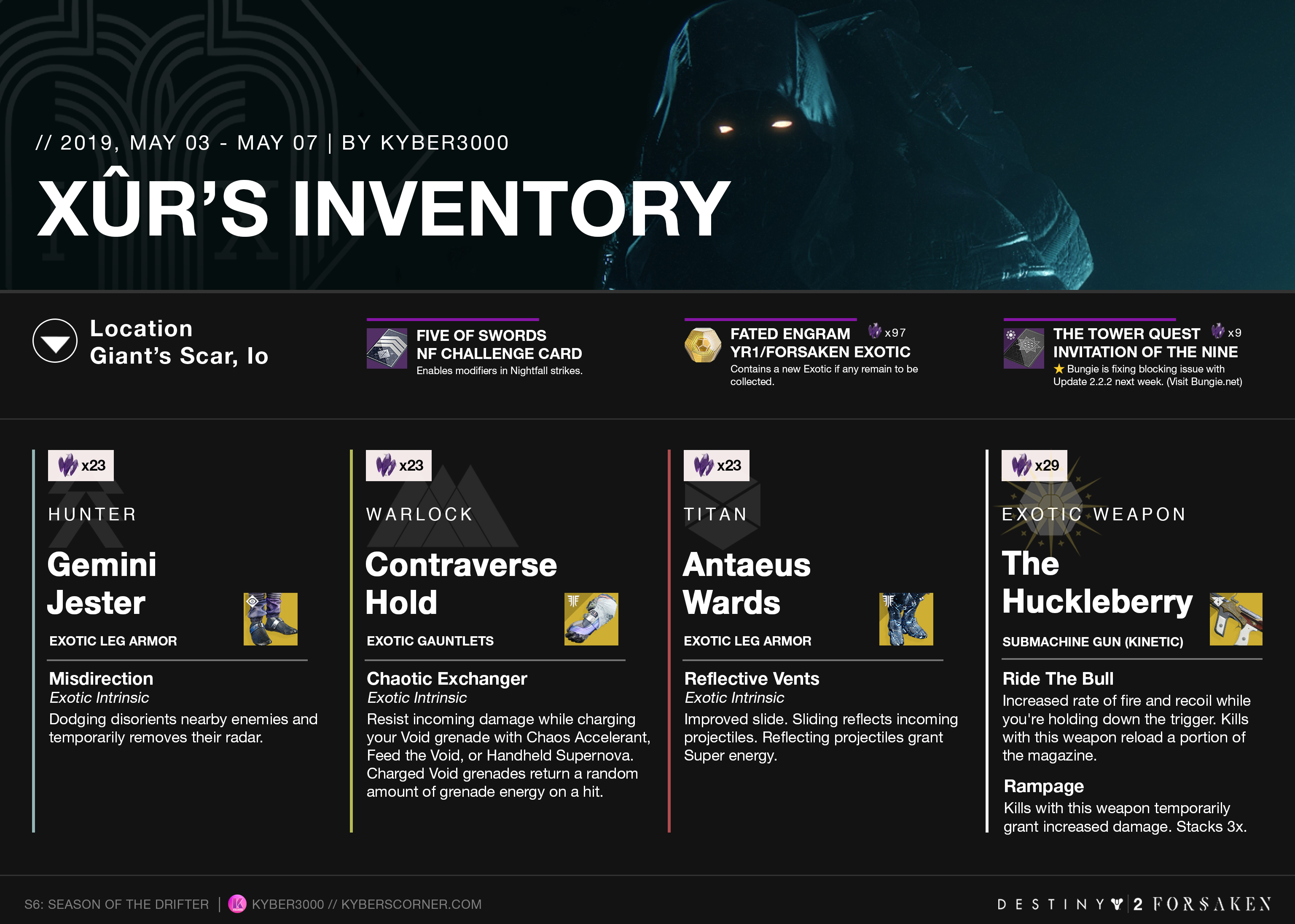 Destiny 2: Xûr's Inventory and News (05/03 – 05/07