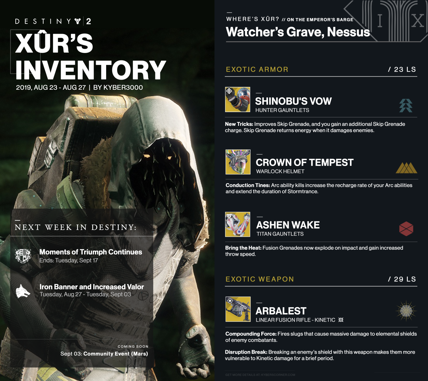 Destiny 2: Xûr's Inventory and News (08/23 – 08/27