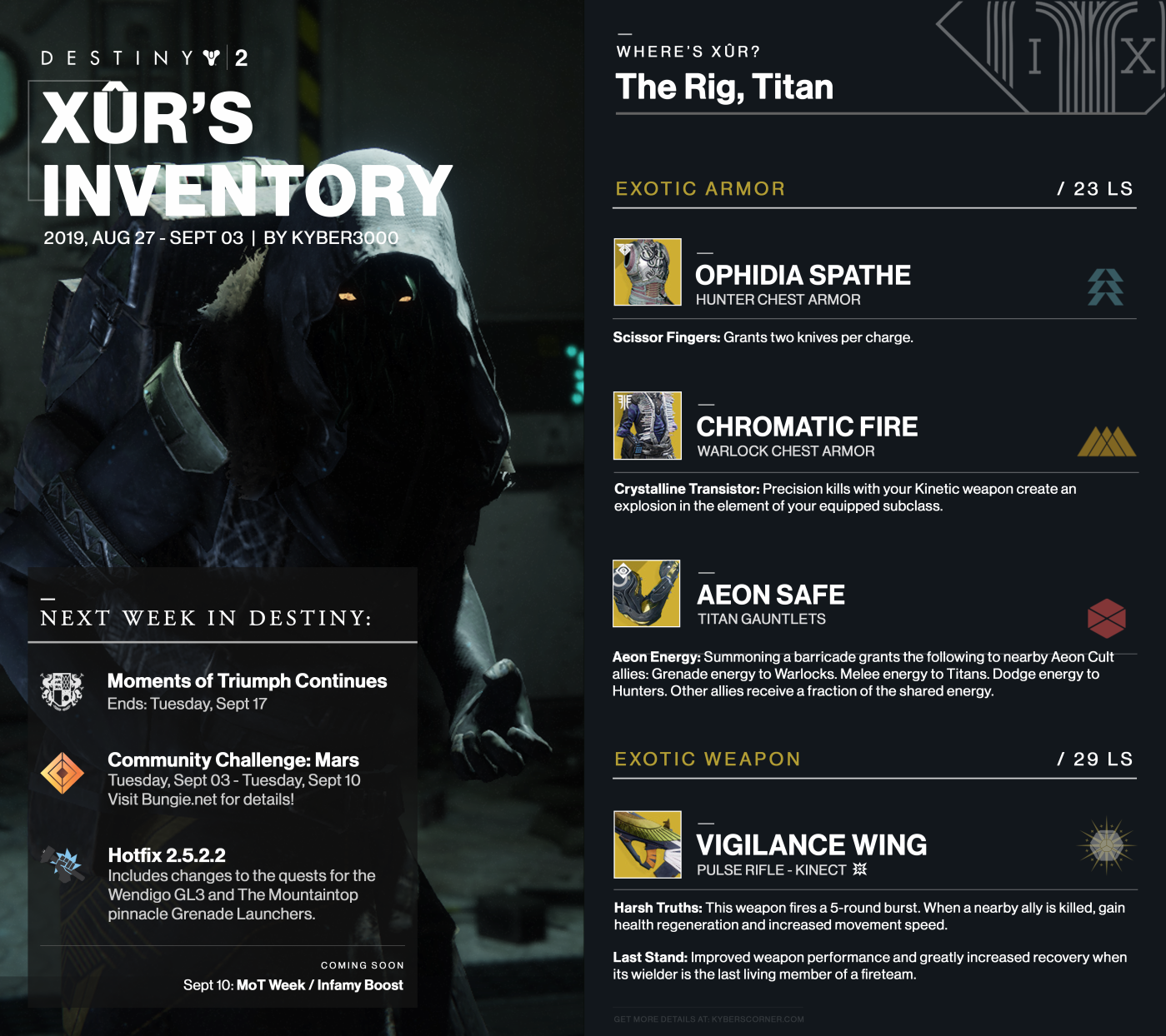 Destiny 2: Xûr's Inventory and News (08/30 – 09/03